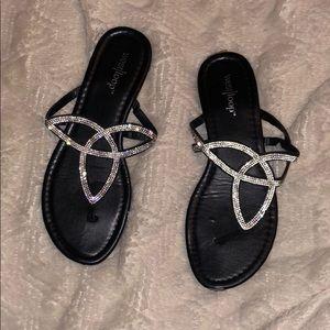 Shoes - Rhinestone Black Sandals